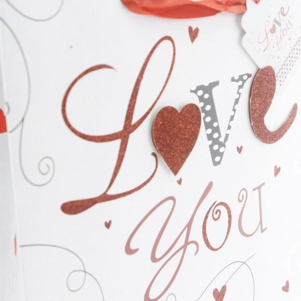 1 Adet Love You Yazılı Karton Çanta