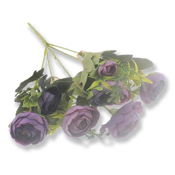 1 Demet Orta Boy Plastik Saplı Kumaş Çiçek