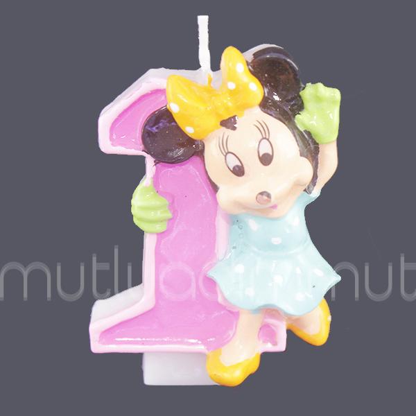 1 Yaş Minnie Mouse Doğumgünü Mum