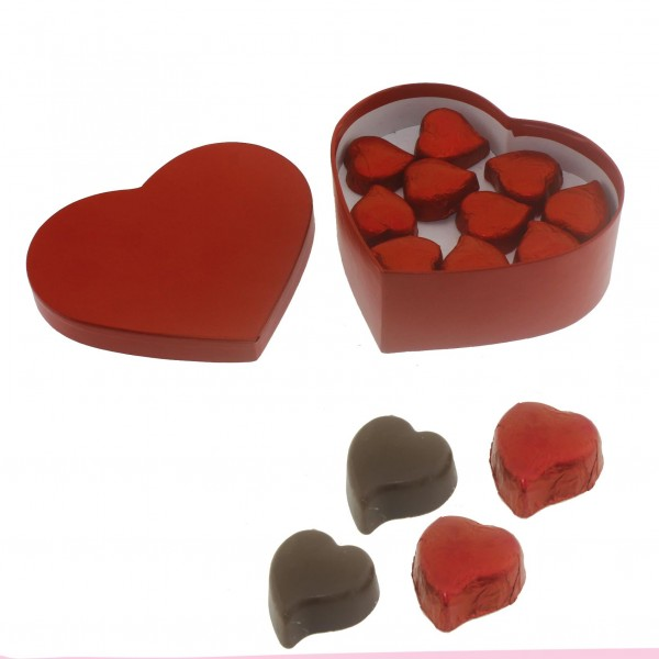 10 Adet Kalp Çikolata Kırmızı Karton Kutuda