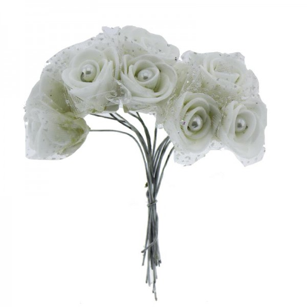 10 Demet (120 Adet) İncili ve Tüllü Küçük Lateks Gül Çiçek