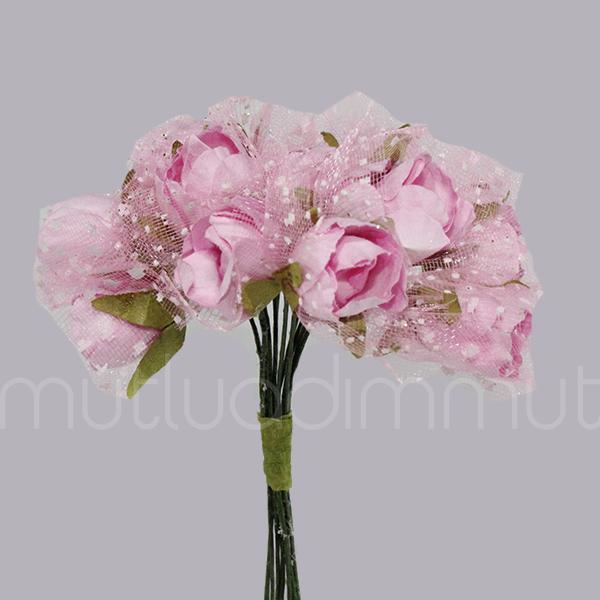 10 Demet (120 Adet) Tüllü Kağıt Gül Çiçek