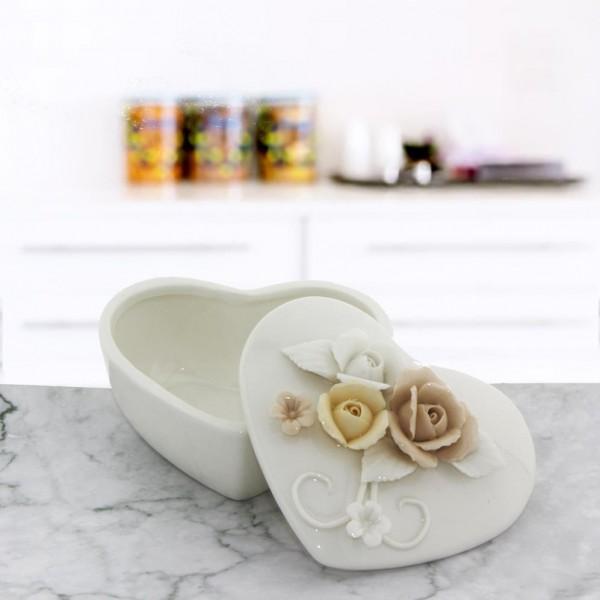 10x10cm Porselen Kalp Şekerlik Çiçekli