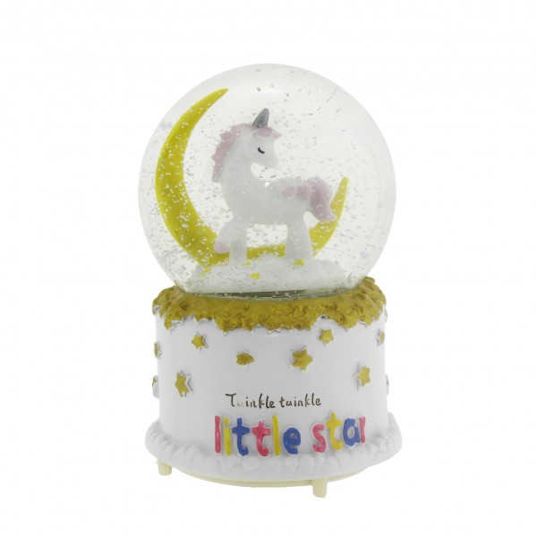 10x15cm Kar Küresi Müzikli Püskürtmeli Işıklı Unicorn Aylı