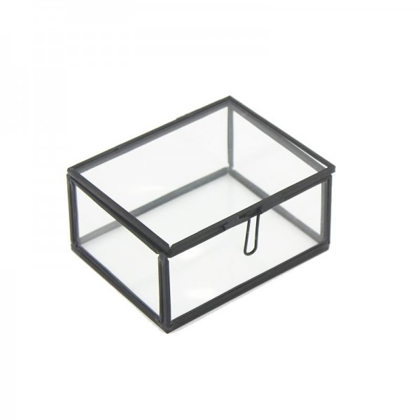 10x8cm Cam Fanus Dikdörtgen Cam Prizma Kapaklı Kutu