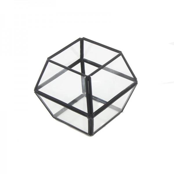 11x10cm Cam Fanus Çokgen Prizma