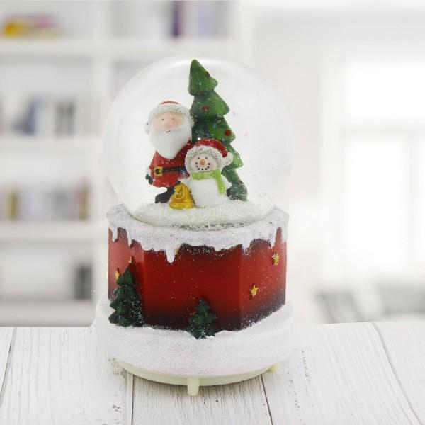 11x18cm Işıklı Kar Küresi Müzikli Püskürtmeli Kardan Adamlı Ağaçlı Yılbaşı