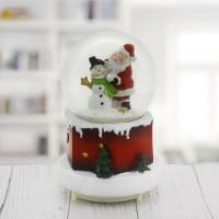 11x18cm Işıklı Kar Küresi Müzikli Püskürtmeli Noel Baba Yılbaşı