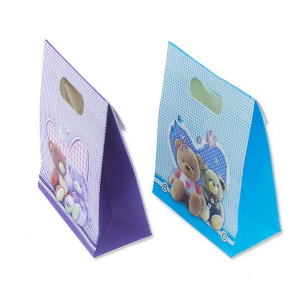 12 Adet 12x16cm Ayıcık Karton Çanta Mavi Mor