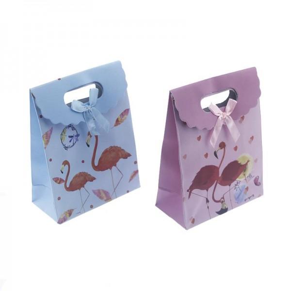 12 Adet 12x16cm Karışık Renkte Flamingo Karton Çanta