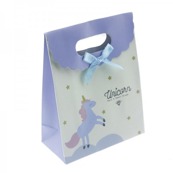 12 Adet 12x16cm Karışık Renkte Unicorn Karton Çanta