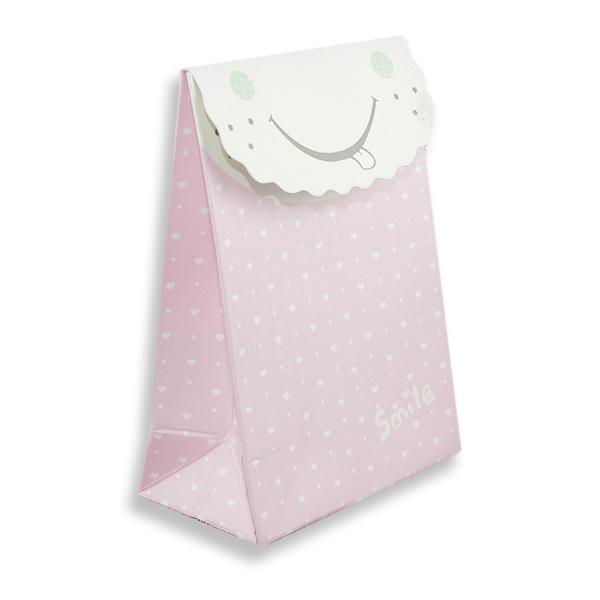 12 Adet 7x10cm Smile Pembe Küçük Karton Çanta