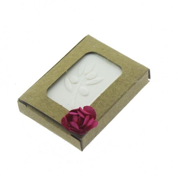 12 Adet 3,5x5,5cm Çiçek Süslü Zeytinyağlı Doğal Sabun Kraft Kutulu