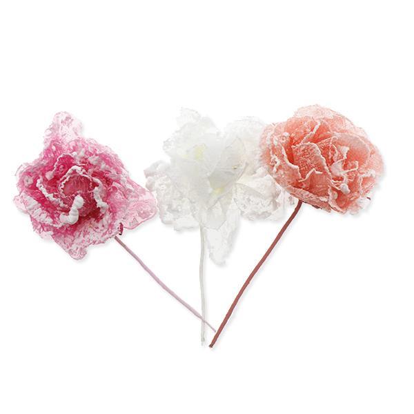 12 Adet Karlı Kumaş Çiçek