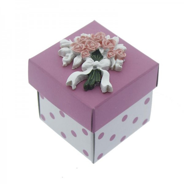 12 Adet Pembe Karton Kutu Pembe Çiçek Biblolu