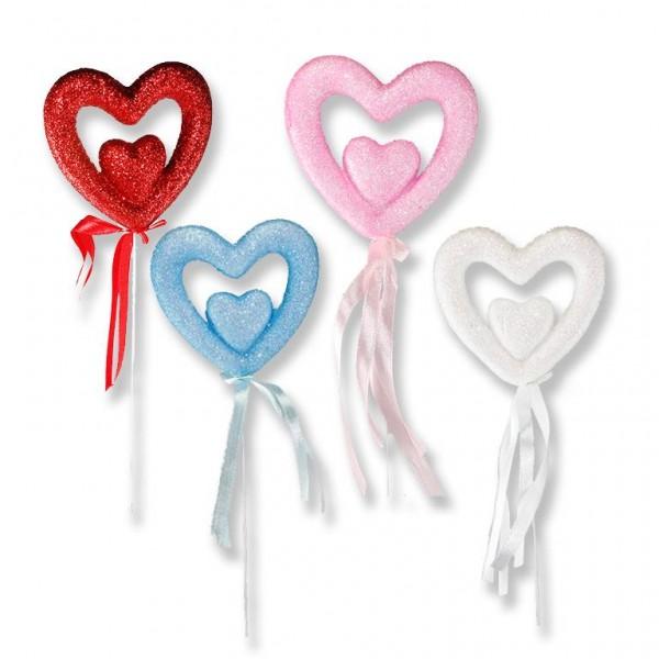 12 Adet Strafor İç İçe Kalp Çubuk
