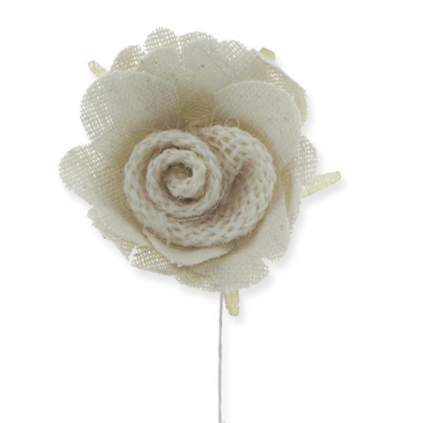 12 Adet Tekli Keten Kumaş Gül Çiçek