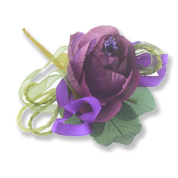 12 Adet Tekli Tomurcuklu Kumaş Çiçek Yaka Gülü