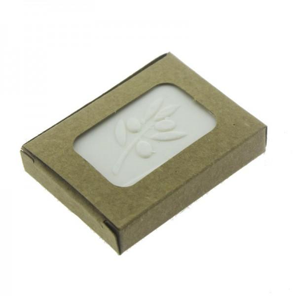 12 Adet 3,5x5,5cm Zeytinyağlı Doğal Sabun Papatyalı Kraft Kutulu
