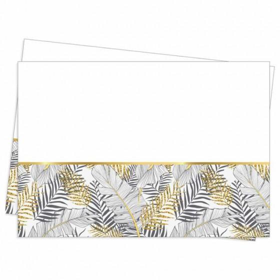 120x180cm Altın Simli Yapraklar Beyaz Plastik Masa Örtüsü