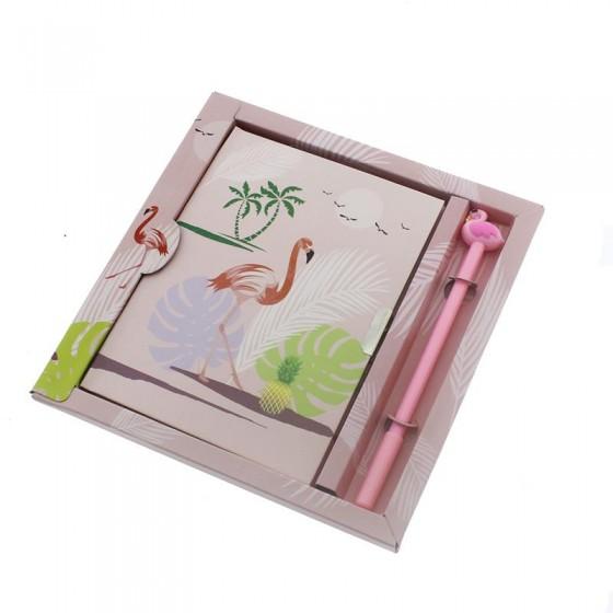 13x18cm Flamingolu Not Defteri ve Tükenmez Kalem Seti Mod.3