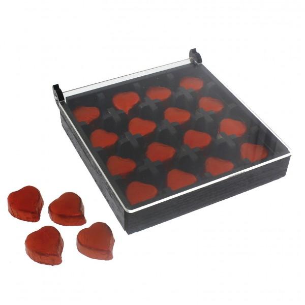 16 Adet Kalp Çikolata Ahşap Kutuda Pleksi Kapaklı