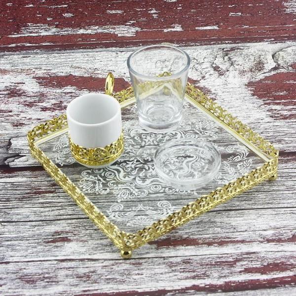17cm Kare Desenli Tepsi İçinde Damat Kahvesi Seti Altın