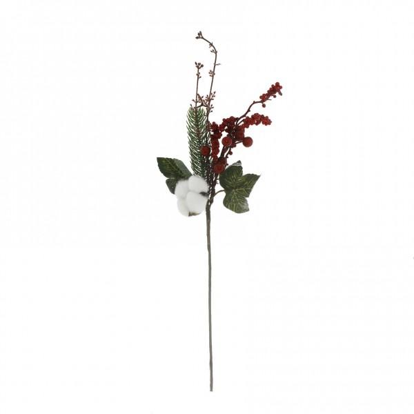 12x40cm Kırmızı Meyveli Pamuklu Yapay Çiçek Dalı