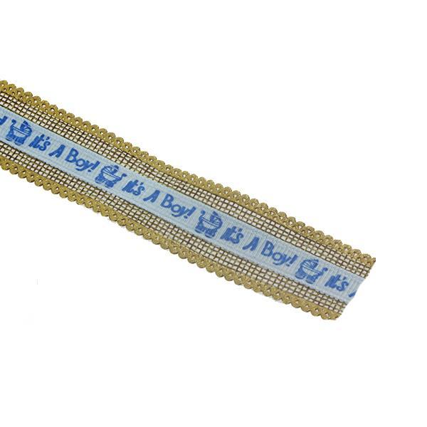 2,5cm x 9,1metre Baby Yazılı Keten Kurdela