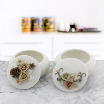 2 Adet 7x9cm Porselen Şekerlik Çiçekli Set