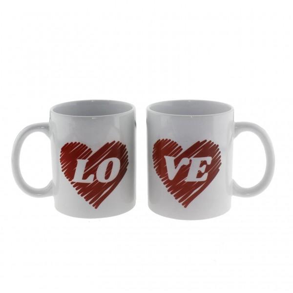 2 Adet Love Yazılı Bardak Kupa Çift