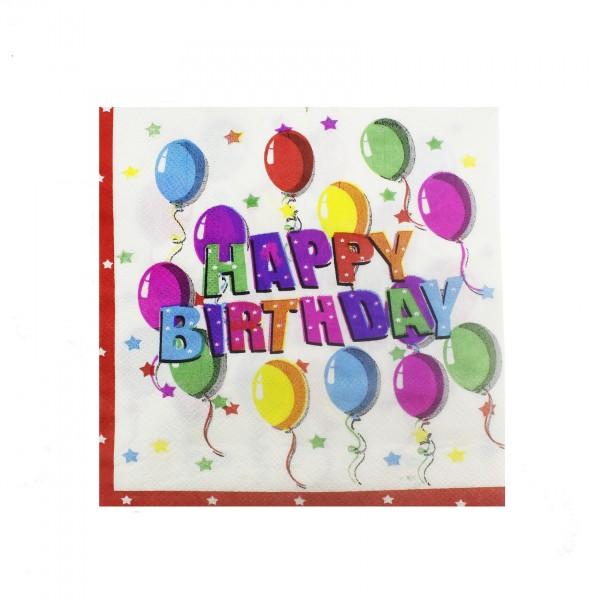 20 Adet 33cm Kağıt Peçete İyi ki Doğdun Happy Birthday