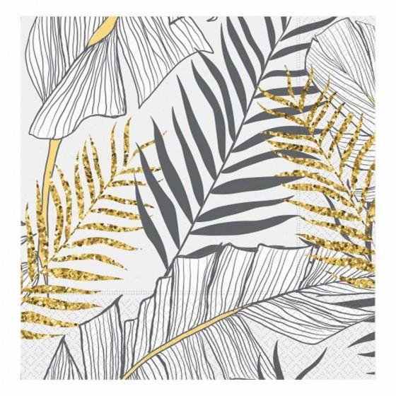 20 Adet Altın Simli Yapraklar Beyaz Kağıt Peçete 33x33cm
