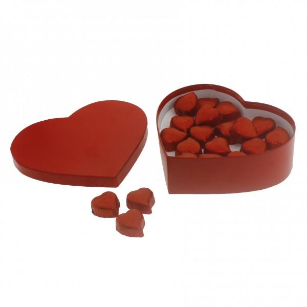 20 Adet Kalp Çikolata Kırmzı Karton Kutuda