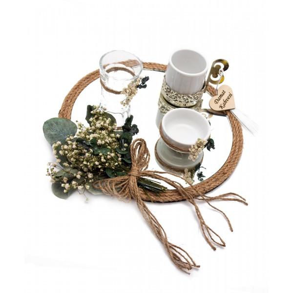 20cm Söz Nişan Damat Kahvesi Fincan Lokumluk Doğal Set