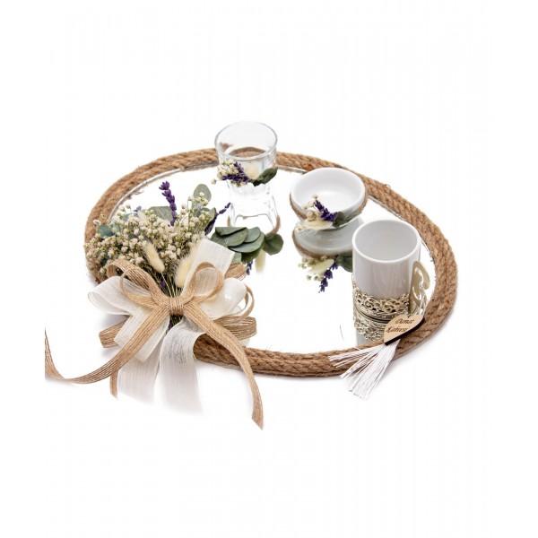 20cm Söz Nişan Damat Kahvesi Fincan Seti Doğal Çiçekli