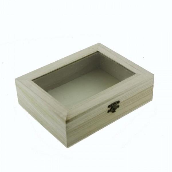 20x15cm Ahşap Kutu Ortası Camlı