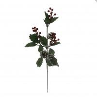 20x50cm Kozlaklı Kırmızı Meyveli Yapay Çiçek Dalı