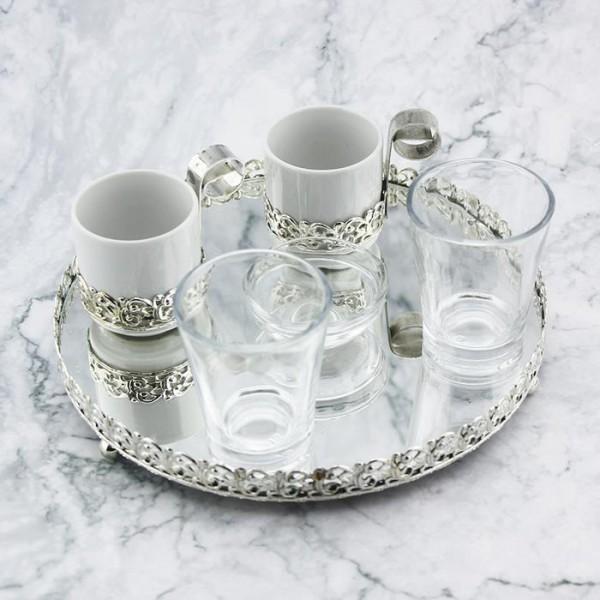 21cm Yuvarlak Tepsi Damat Kahvesi 2li Fincan Seti Gümüş
