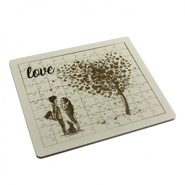 21x24cm 100 Parça Ahşap Puzzle Yap-Boz Love Sevgiliye