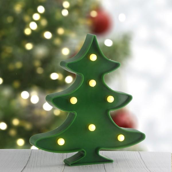 22cm Led Çam Ağacı Plastik Işık Gece Lambası Aydınlatma Pilli