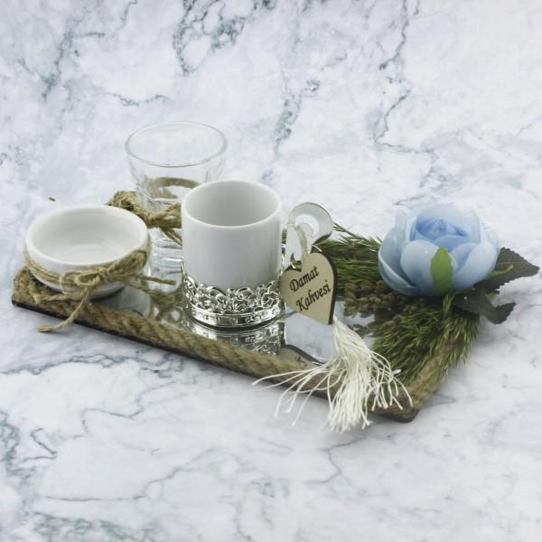 22x12cm Damat Kahvesi Seti Ayna Camlı Mavi Çiçekli