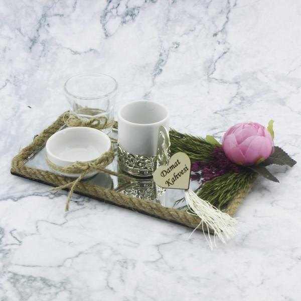 22x12cm Damat Kahvesi Seti Ayna Camlı Pembe Çiçekli