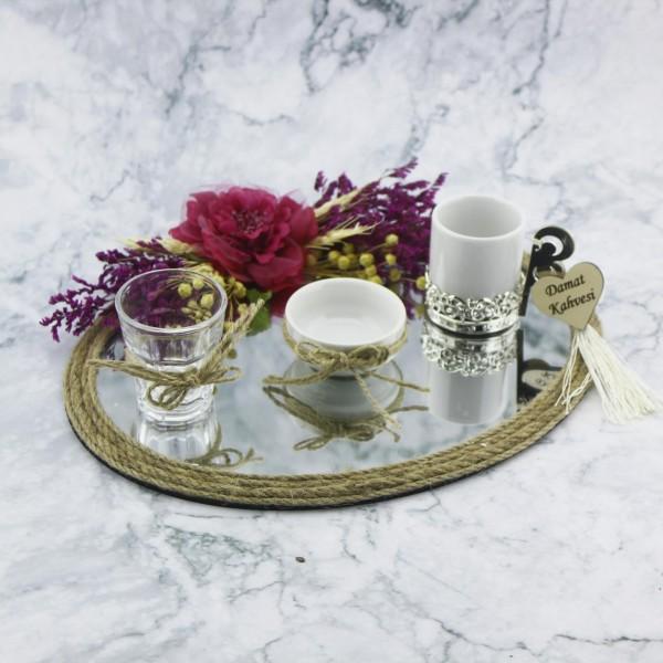 23x28cm Oval Damat Kahvesi Seti Ayna Camlı Fuşya Çiçekli