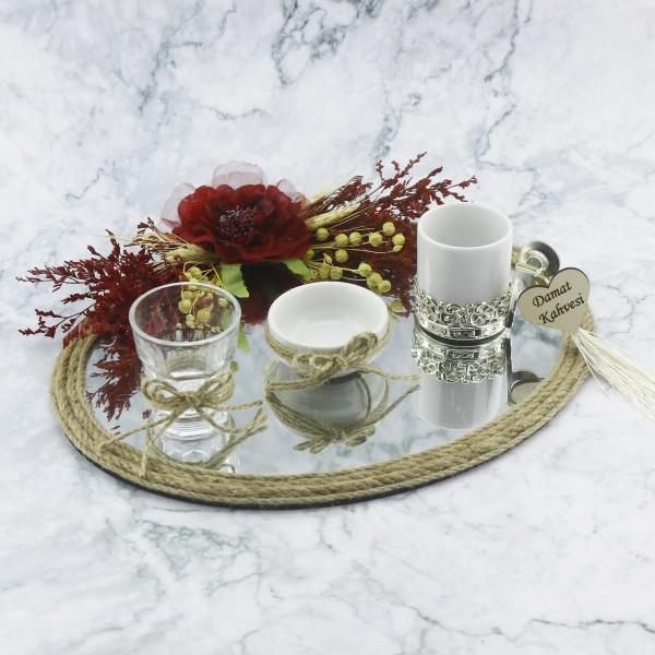 23x28cm Oval Damat Kahvesi Seti Ayna Camlı Kırmızı Çiçekli