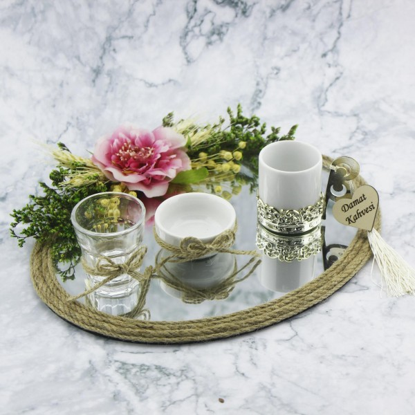 23x28cm Oval Damat Kahvesi Seti Ayna Camlı Pembe Çiçekli