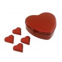 25 Adet Büyük Kalp Çikolata Metal Kutuda
