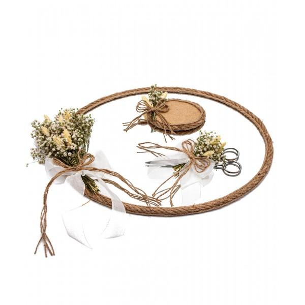 25x35cm Söz Nişan Cam Ayna Tepsi Kuru Çiçek Süslemeli