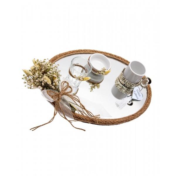 25x35cm Söz Nişan Damat Kahvesi Fincan Seti Doğal Süsleme