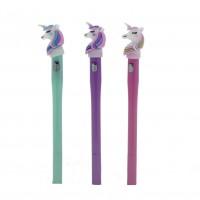 3 Adet Led Işıklı Unicorn At Tükenmez Kalem